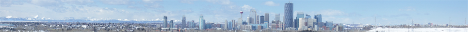 Panoramic photo of the Calgary skyline in winter